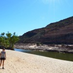 Swimming on our own private beach in a gorge of the Murchison River, Kalbarri NP