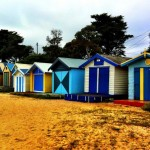 Colourful beach huts on the Mornington Peninsula