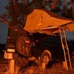 Fire lit campsite