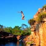 Tara taking the plunge at Donkey Hole, Charnley River station