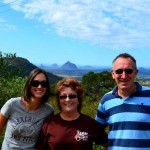 Tara with Mum and Dad (Robbo) in front of the Glasshouse Mountains
