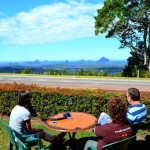 Coffee and a muffin overlooking the Glasshouse Mountains