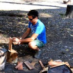 Chopping wood testing the axe handle made with a Bear Grylls knife :P