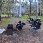 Dave stoking the fire, Sawpit Creek in Kosciusko National Park