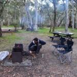 Dave stoking the fire, Sawpit Creek in Kosciusko National Park
