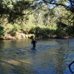Dave testing the depth before crossing the Murray River at Tom Groggin...bloody freezing!!