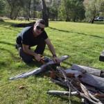 Dave cutting timber at Victoria Falls