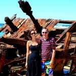 Tara and Dad at The Maheno - Fraser Island Shipwreck