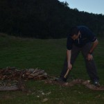 Dave chopping wood at Deua NP
