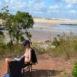 Tara doing some serious relaxing, Gnylmarung, Dampier Peninsula WA