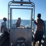 Bryn, Grant and Dave looking for signs of fish. Gnylmarung, Dampier Peninsula WA