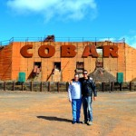 The mandatory Cobar tourist sign photo with Uncle Ross