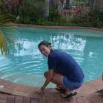 Tara testing the pool temp