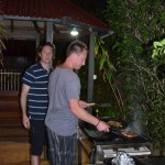 Jules and Pat - cooking the barbie at Byron Bay