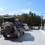The Prado on a car ferry across the Myall Lakes