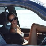 Tara on the car ferry - Myall Lakes